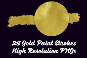 Gold Paint Brush Strokes Clip Art - 25 PNG Files