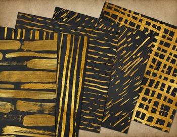 Gold Paint digital paper backgrounds, watercolor watercolour brush strokes