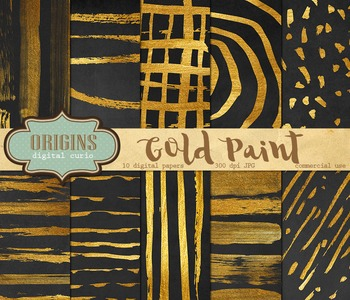Gold Paint digital paper backgrounds, watercolor watercolo