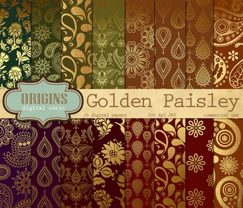Gold Paisley Digital Paper Backgrounds