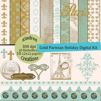 Gold Parisian Holiday Paper and Clip Art Set