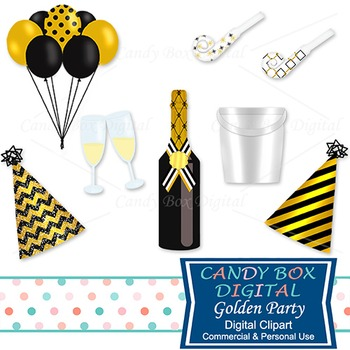 gold party and new years eve clip art