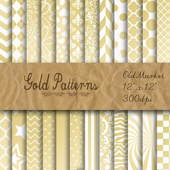 Gold Pattern Designs - Digital Paper Pack - 24 Different Papers - 12 x 12