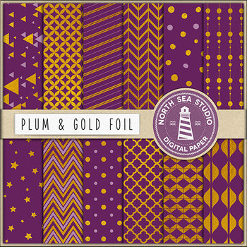 Gold Patterns, Plum And Gold Digital Paper