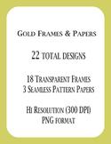 Gold Polka Dot Clip Papers & Transparent Frames