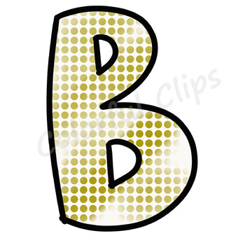 Gold Polka Dot Lettering - Colorful Clips