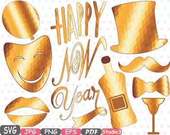 gold props happy new year 2018 clipart party photo booth hat lips halloween 9p