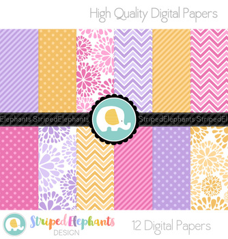 Gold, Purple and Pink Digital Papers