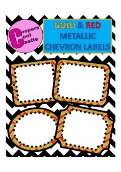 Gold  & Red Metallic Chevron Labels