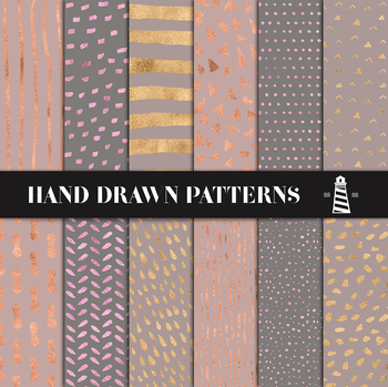 Gold, Rose And Copper Patterned Papers