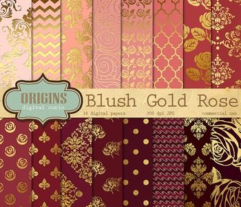 Gold Roses Damask Digital Paper Backgrounds