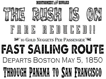 Mock Advertisements California Gold Rush - Correlates with Interact Simulation