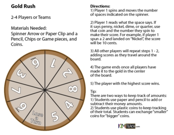 Gold Rush Coin Board Game - Nickels, Dimes, and Quarters