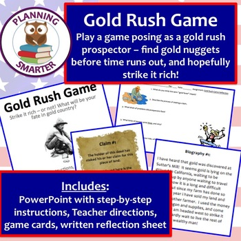 Gold Rush Game featuring a real hunt for gold nuggets and discussion/reflection