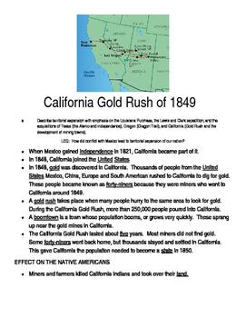 Gold Rush Graphic Organizer