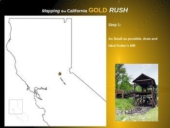 Gold Rush Map Activity: Fun, engaging follow-along 25-slide PPT