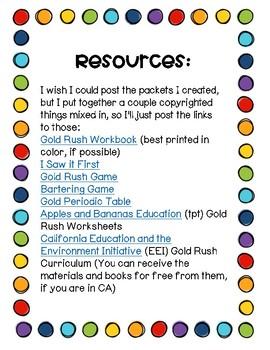Gold Rush Worksheets *Freebie*
