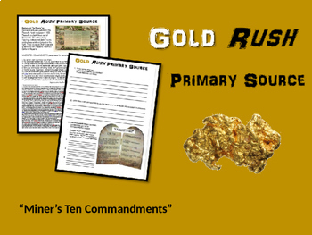 Gold Rush! engaging primary source bundle (4th - 8th grade)