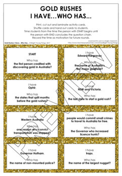 Gold Rushes - 'I Have...Who Has' Activity