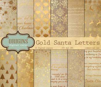Gold Santa Letters Digital Scrapbook Paper Printable Backgrounds