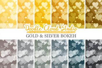 Gold & Silver Hearts Bokeh digital paper, Metallic Bokeh Overlay