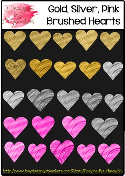 Gold Silver Pink Brushed Painted Hearts