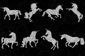 Gold & Silver Unicorn Clipart, Unicorn Graphics