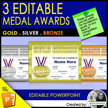 Gold, Silver and Bronze Editable Medal Awards
