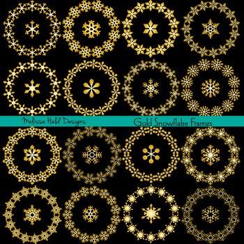 Gold Snowflake Circle Frames Clipart
