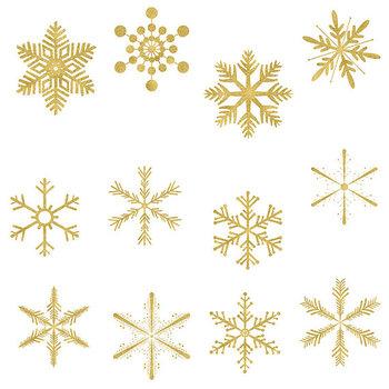 Gold Snowflakes Clipart, Sparkle Snowflakes