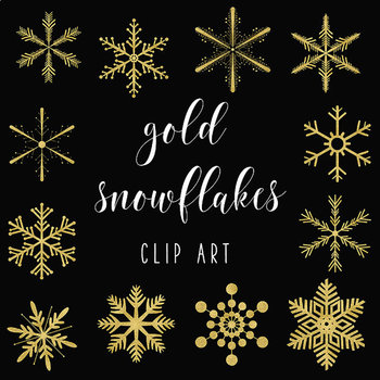 Gold Snowflakes Clipart, Sparkle Snowflakes, Winter Graphics