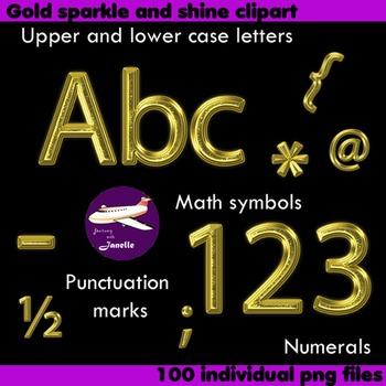Alphabet Clip Art Gold Sparkle &Shine , Punctuation, Math Symbols & Numerals