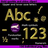 Alphabet Clip Art Gold Sparkle &Shine , Punctuation, Math