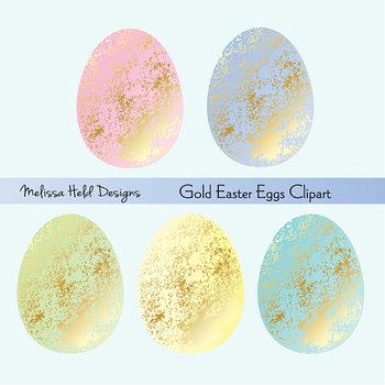 Gold Foil Easter Egg Clipart