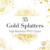 Gold Splatters Clipart, Gold Dust PNGs, Gold Glitter