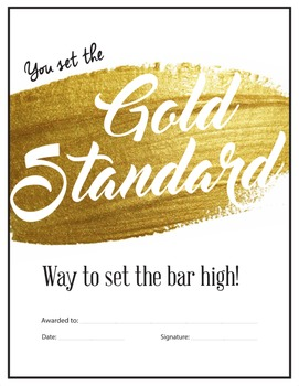 Gold Standard - Reward Certificate