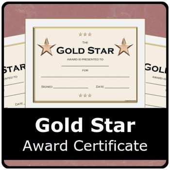 Gold Star Award Certificate