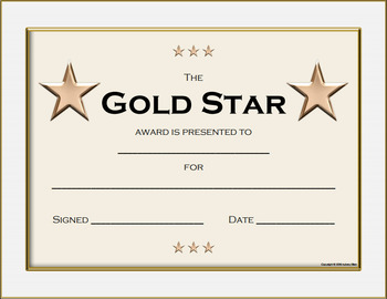 gold star award certificate by aubrey ellen teachers pay teachers