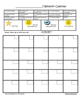 Gold Star Behavior Calendars