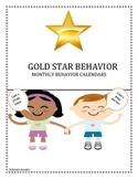 Gold Star Behavior Calendars