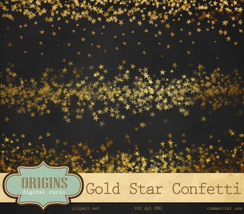 Gold Star Confetti Clipart - PNG Stars party clip art