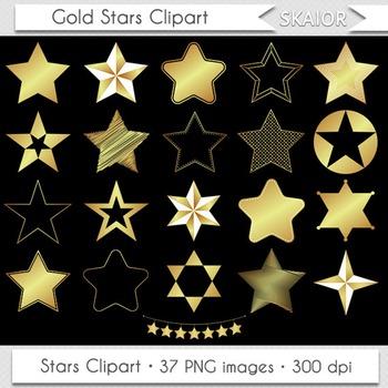 Gold Stars Clipart Golden Foil Stars Clip Art Silhouette Scrapbooking Printable