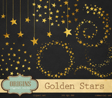 Gold Stars Clipart PNG Embellishments