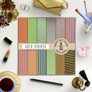Gold Stripes Scrapbook Paper