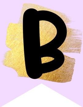 Gold Stroke-Editable Alphabet Banner