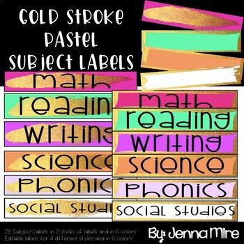 Gold Stroke-Editable School Labels