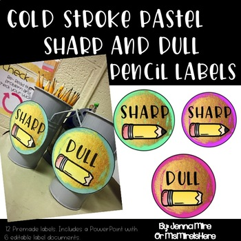 Gold Stroke-Sharp and Dull Pencil Labels-Editable