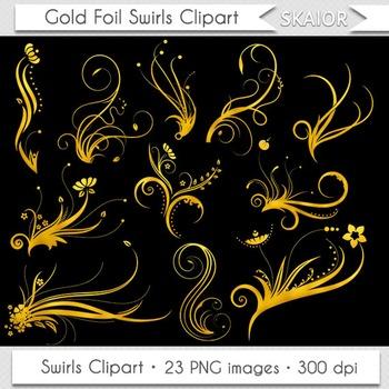 Gold Swirls Clip Art Flourish Clipart Golden Foil Floral Ornaments Invitations