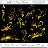 Gold Swirls Clip Art Flourish Clipart Golden Foil Floral O