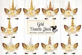 Gold Unicorn Faces Clipart